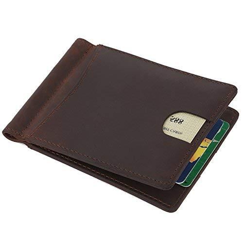 Geldklammer Herren Leder Geldbörse, Money Clip Portmonee mit Geldklammer Leder Herren Karten, Kreditkartenetui Geldclip, Portemonnaie Leder Geldbeutel mit RFID Schutz