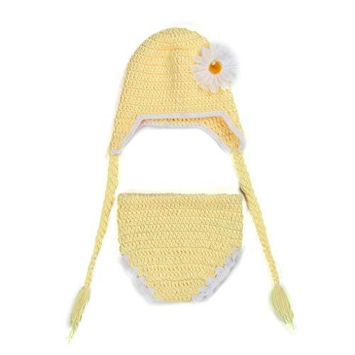 Mallb Schöne Sonnenblume häkeln Wolle Strickmütze kurze Hosen Neugeborenes Baby Set Studio Foto Lieferungen (Häkeln-mützen Für Baby-jungen)