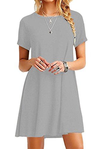 OMZIN Damenschaukel lose Kurzarm T-Shirt Fit bequem lässig Flowy Tunika Kleid hellgrau 5XL - Sleeve Loose Fit Shirt