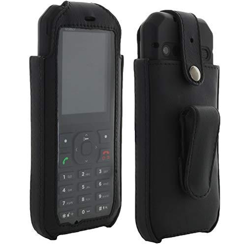XiRRiX Echt Leder Hülle Tasche mit arretierbarem Gürtelclip - passend für CAT B35 Handy - Handytasche schwarz