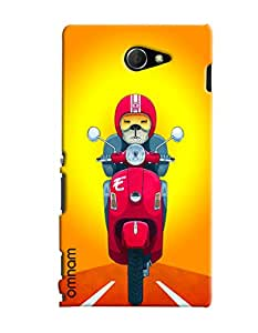 Omnam Dog driving Scooter back cover for Sony Xperia M2