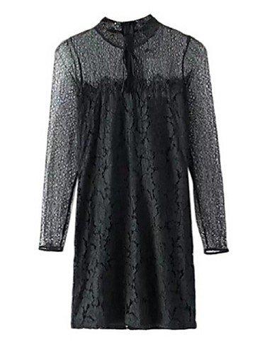 PU&PU Robe Aux femmes Gaine Simple,Couleur Pleine Col Arrondi Au dessus du genou Soie / Polyester BLACK-S