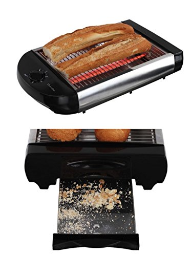 Flachtoaster Brotröster Tischröster Edelstahl Toaster Krümelschublade Brötchen Röster (Quarz...