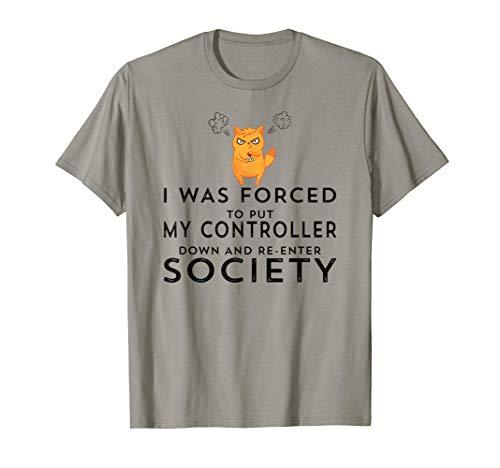 Funny Video Gamer Humor Joke Cat Controller Adult Kids Teens T-Shirt