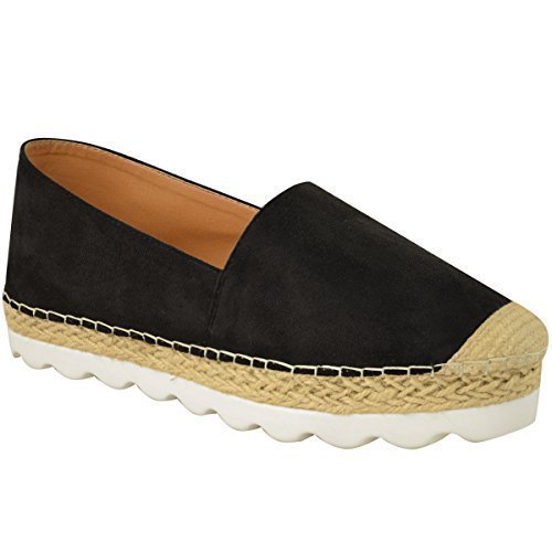 Scarpe basse da donna espadrillas moccasians suola piatta mazzo scarpe con zeppa dÉcolletÉ misura - nera pelle scamosciata, donna, 37