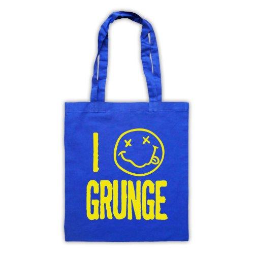 "Scritta in inglese ""I Love-Borsa stile Grunge Blu"