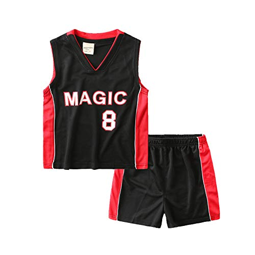 Hanbao Kinder Basketball T-Shirt - Sommer Basketball Anzug NBA Magic 8 No. Jersey-Klassisches Ärmelloses Oberteil und Shorts