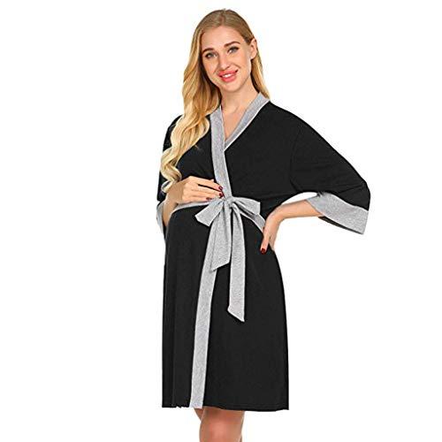 Krankenhaus-kleid (Mutterschaft Pflege Robe Nachthemden Krankenhaus Stillen Kleid Damen Umstandskleid Stillnachthemd Nachthemden Schwangere Stillzeit Pflege Nachthemd zum Stillen Nachtwäsche)