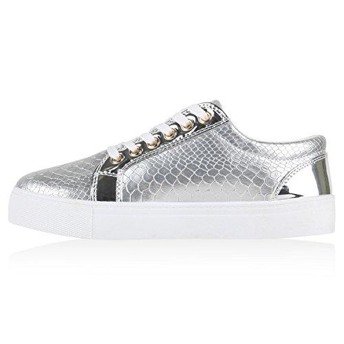 Stiefelparadies - Scarpe da Ginnastica Basse Donna argento bianco