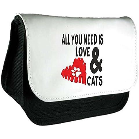 All You Need Is Love e gatti disegno cuore gatto persona Animali domestici amanti degli animali divertenti animali a tema Frizione Borsa o Astuccio Misura unica nero