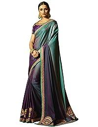 Aarti Apparels Women's Designer Embroiderd Chiffon, Silk Saree_Purple & Blue_SRYA-2115