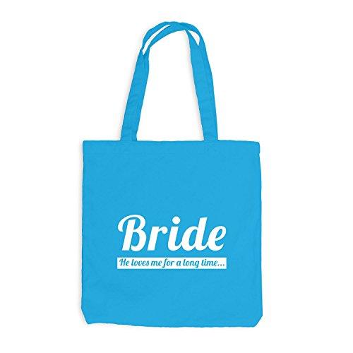 Jutebeutel - Junggesellenabschied - BRIDE He loves me very long time - JGA Braut Polterabend Junggesellen Surfblau