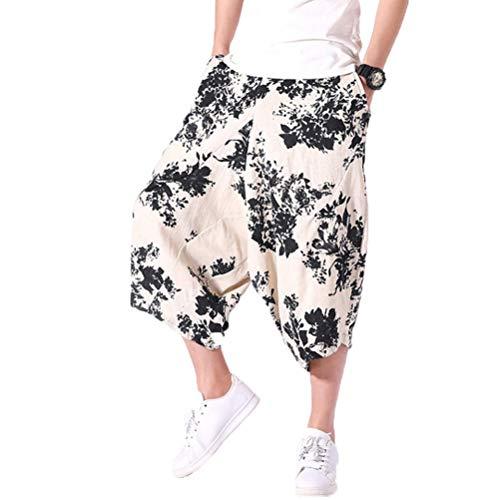 Komfort Lose Weites Bein Mehrfarbendruck Hip Hop Baggy Boho LäSsige Cropped Hose ()