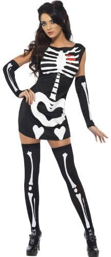 Sexy Strumpfhose Damen Skelett-Kostüm Halloween Fasching Kostüm Glow In Dark