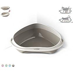 Takestop® Arenero lettiere para gatos gato Shuttle Corner ángulo 49x 40x 17.5cm Higiene toelettatura bordes rialzati suciedad color aleatorio