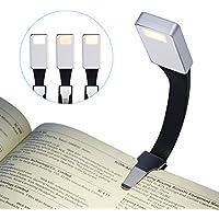 ACTOPP Lámpara de Lectura Portátil con Temperatura de 3 colores Lámpara Recargable Luz de Libro Lámpara de Escritorio Lámpara de Lectura de Cabecera para Kindle, Libro, Lectura Nocturna, etc.