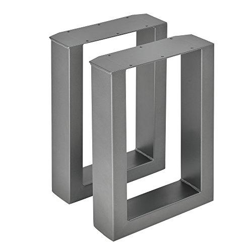 [en.casa]] 2X Tischgestell - 30 x 43cm Stahlgrau - Bankgestell Tischuntergestell Tischkufen Tischbein