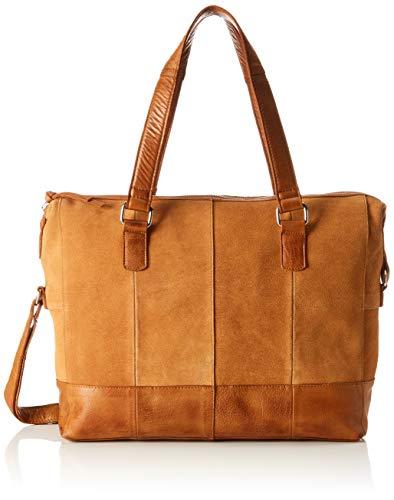 PIECES Damen Pcbaya Suede Daily Bag Umhängetasche, Braun (Cognac), 10x25x35 cm