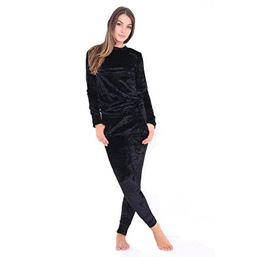 Janisramone Frauen Damen Neu zerquetscht Velours Samt Jogger Loungewear 2 Stück Jog-Set koordinieren Anzug für
