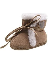 Botas para niños pequeños,Koly Premium Soft Sole Calzado antideslizante para bebés Las muchachas del bebé del invierno 0-18M guardan las botas calientes Cute Snow Boot Lace Up Cuna Prewalker calientes zapatos (13, Café)