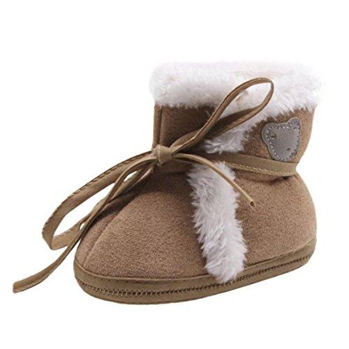 URSING,Baby Winterschuhe Neugeborene Soft Sole Snow Boots Prewalker Warm Schuhe Soft Crib Schuhe Kleinkind Lace-Up Solid Color Warme Stiefel 0-18 Monate (6-12Monate, Kaffee)