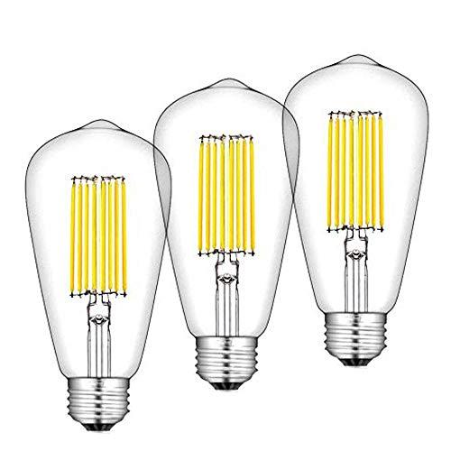Bonlux 12W ST64 LED Glühbirne Edison Schraube E27 ST64 LED COB Filament Retro-Glühlampe Warmweiß 2700K super hell bei 1300 Lumen (3 Stück nicht dimmbar) -