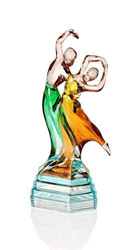 Paar Tänzer Bolero von Hand bemalt Kristall, Stil Murano, Venedig