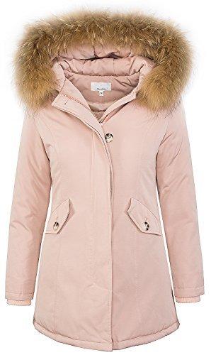 Damen Echtfell Winter Jacke Parka Kapuze Designer Damenjacke Outdoor [D-204 - Rosa - Gr. XL] (Echter Pelz-jacken)