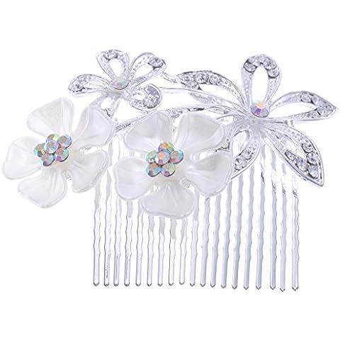 manufacturer2Boho Estilo Pelo Peine perlas flores boda novia Bling plata
