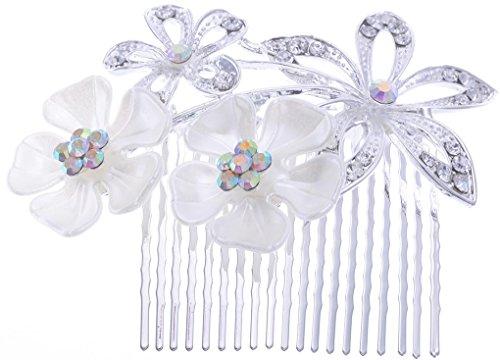 manufacturer2 Boho Style peigne à cheveux perle fleur mariage mariée Bling Argent