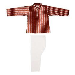 Orange Red Striped Kurta Pajama