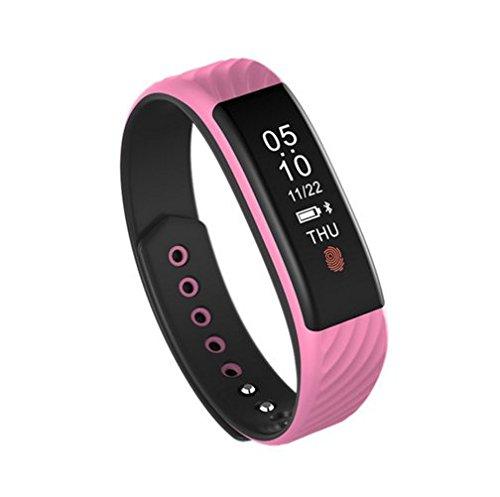 Bluetooth Smartwatch, Miya System Ltd Smart Sport Bluetooth wasserdichtes Armband,Fitness Tracker Armbanduhr mit Schrittzähler Herzfrequenz Schlaf Monitor und Kalorienzähler, Kompatibel mit Android und iOS (Rosa)