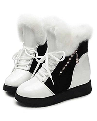 ZEARO Frauen Schuhe Winter Warm Pelz Schnee Stiefel Lace Up Mid Calf (Boots Schnee Weiße)