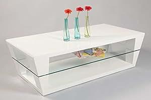 Table basse ANGELINA Blanc haute brillance, 1200 x 600 x 400 mm -PEGANE-