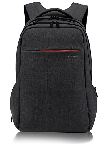 Laptop Notebook Rucksack (NORSENS Wasserdicht Laptop Rucksack 15,6 Zoll Multifunktion Business Notebook Daypack Schulrucksack für Universität/Arbeit,Schwarz)