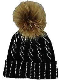 Gorro de punto con incrustaciones brillantes y pompón de pelo sintético  negro tamaño único 5bf2ca15337