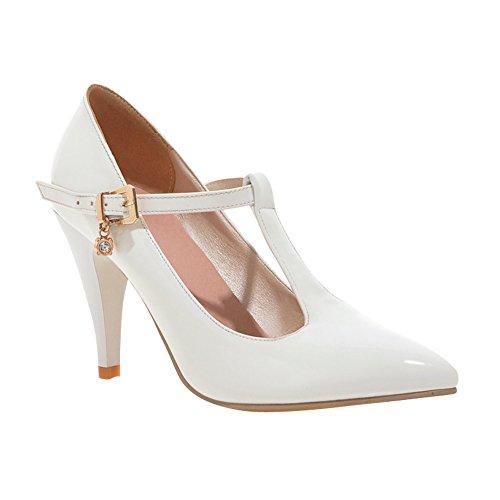 363d4ae7c588 Mee Shoes Damen TStrap spitz Schnalle high heels Pumps Weiß -schule ...