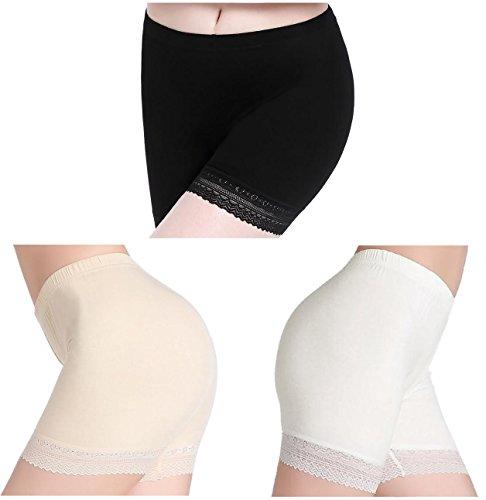 Damen Hose Unter Rock Shorts Kurz Leggings Sport Mit Spitze - Stretch Leicht - Leichte Stretch-leggings