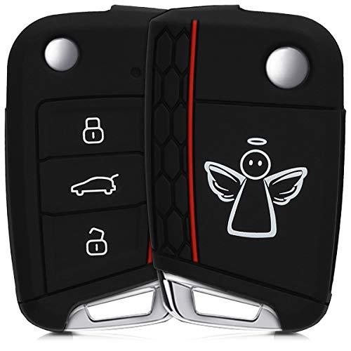 kwmobile Autoschlüssel Hülle für VW Golf 7 MK7 - Silikon Schutzhülle Schlüsselhülle Cover für VW Golf 7 MK7 3-Tasten Autoschlüssel Schutzengel Design Weiß Schwarz