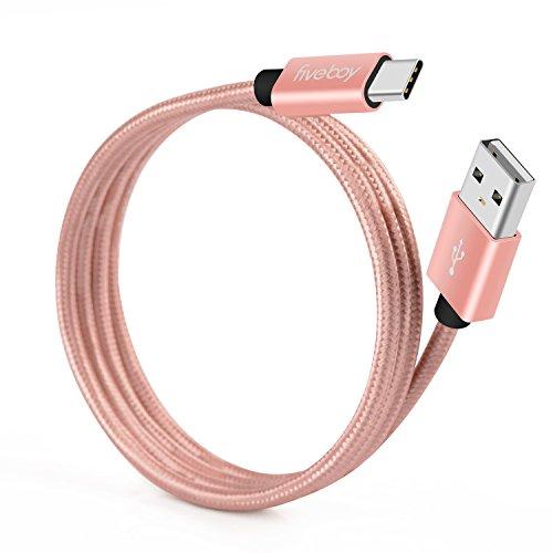 USB C Kabel 2 Stück, 1 Meter / 3,3 ft Fiveboy Typ-C Nylon Geflochten Ladekabel für Macbooks, Samsung Galaxy S8 / S8 Plus, Nexus 5X / 6P, Nokia N1 und Mehr