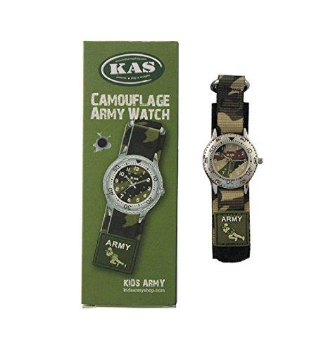 Niños Ejército Camuflaje reloj–Movimiento de cuarzo–Camo velcro Correa–caja para nice gift
