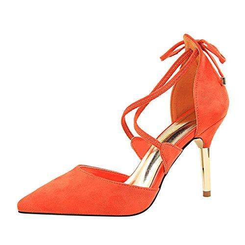 z&dw Sexy Metal Fine Heels Suede Hollow Cross Strap Sandalen Orange