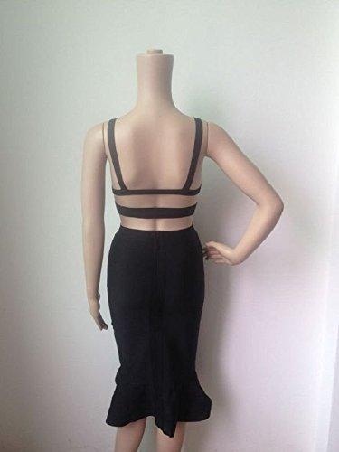HLBandage 2 Piece Spaghetti Strap Knee Length Mermaid Fishtail Rayon Bandage Dress Noir