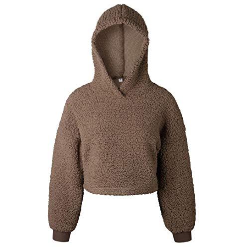 MEIbax Damen Herbst Warm Crop Hoodie Pullover Pullover beiläufige Sweatshirt Bluse Faux Für Lose Langarm Winterjacke Mode Kurz Oberteile