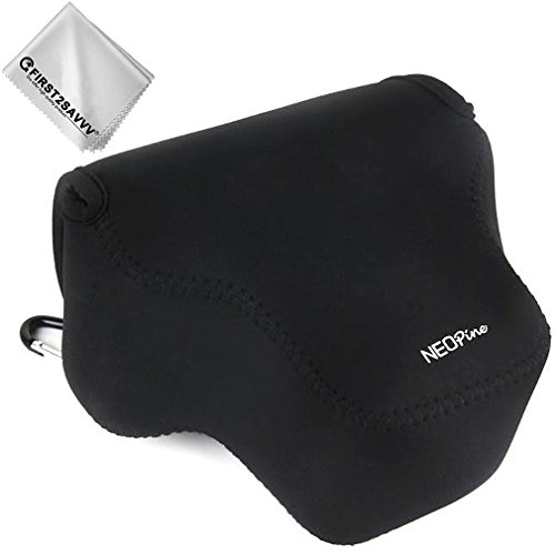 First2savvv Schwarz Flexible Neopren DSLR/SLR Kameratasche für Panasonic Lumix DMC GX9 GX85 GX80 (14-140mm 12-60mm) -