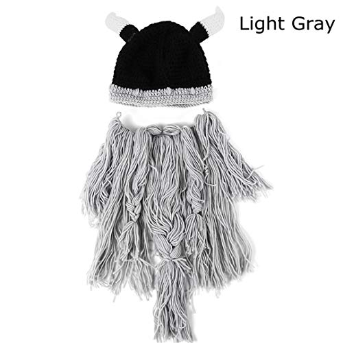 Herren Winter Warme Handgemachte Hut Kopf Barbar Beard Mützen Horn Hüte Stricken Urlaub Party Coole Lustige Cosplay Cap Light Grey