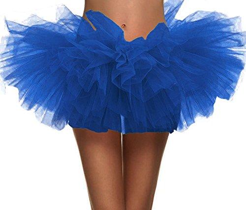 Simplicity Damen Tutu-Rock aus Tüll mit 5 Schichten - Blau - (Tanz Kostüm Mit Bustles)