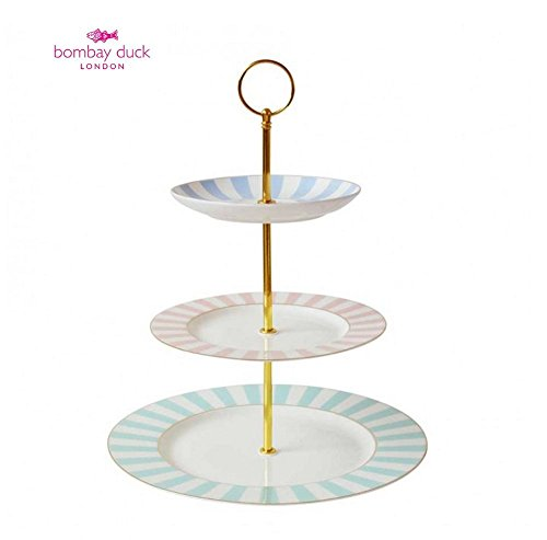 Bombay Duck vintage Stripy rayé 3 Tier Cup Cake Stand pastels