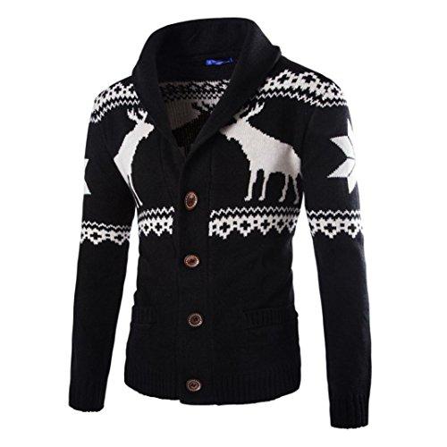 Elecenty Herren Weihnachten Sweatshirt Sweater Strickjacke Cardigan Christmas Männer Xmas Knitwear Coat Jacket Weihnachtspullover Pullover Strickpullover strickmantel strickwaren (M, Schwarz)