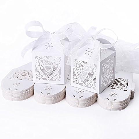 Kingstons 50pcs Mariage creux Cœur Boîtes à cadeaux à dragées pour mariage (Blanc)